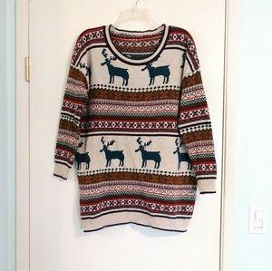 Vintage Knit Nordic Christmas Sweater w/ Reindeer